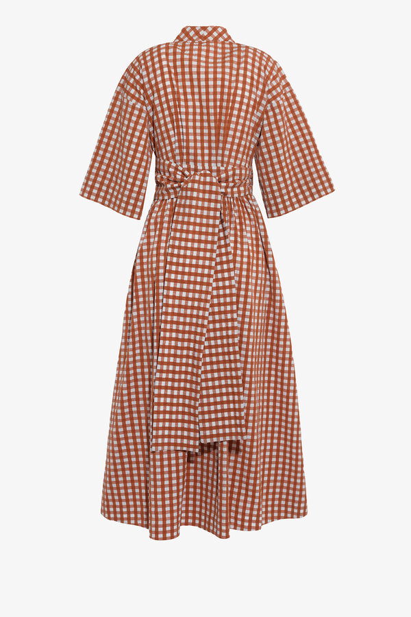 Charita Cotton Midi Dress in Copper Gingham