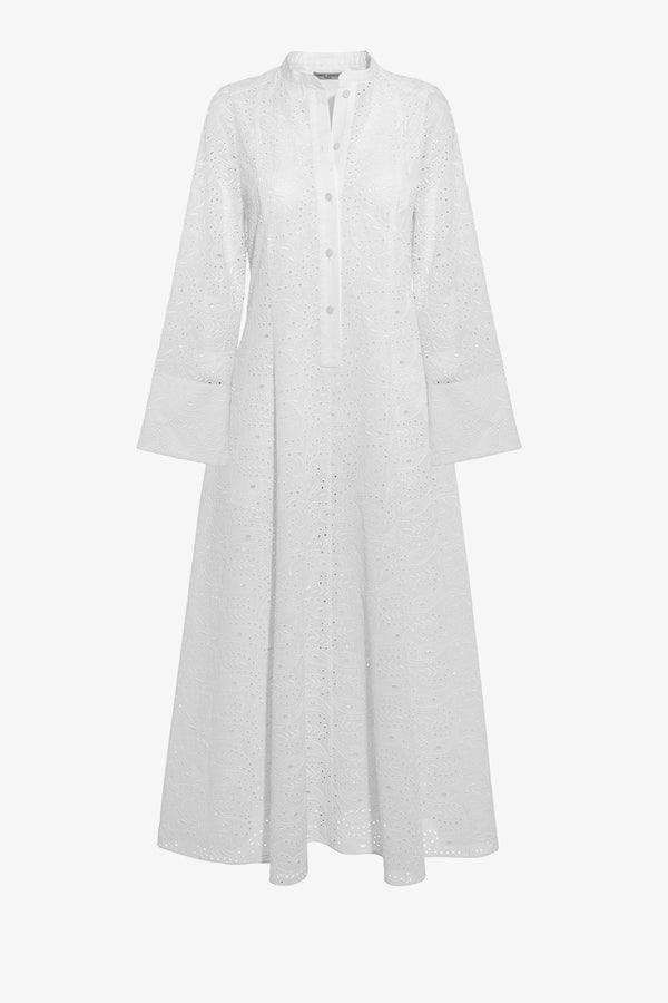 Connie Ankle Length Dress in Broderie Anglaise