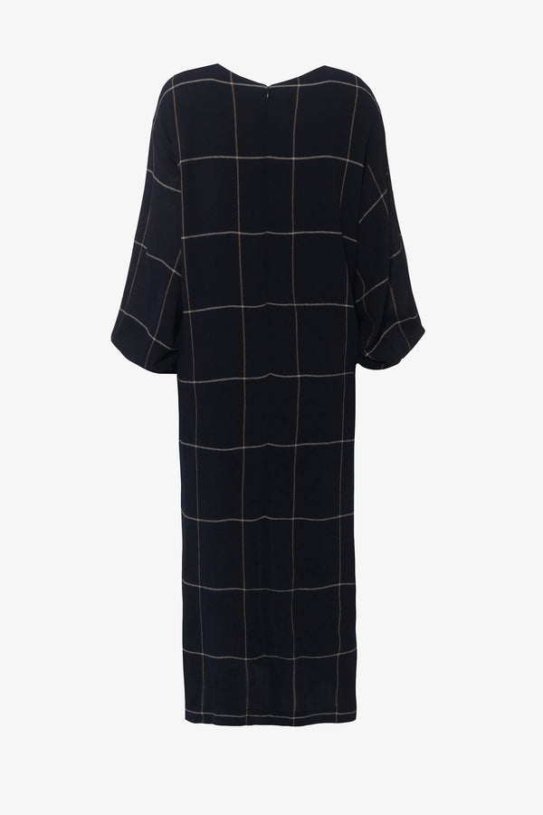 Daisy Wool Side Split Midi Dress in Navy Check