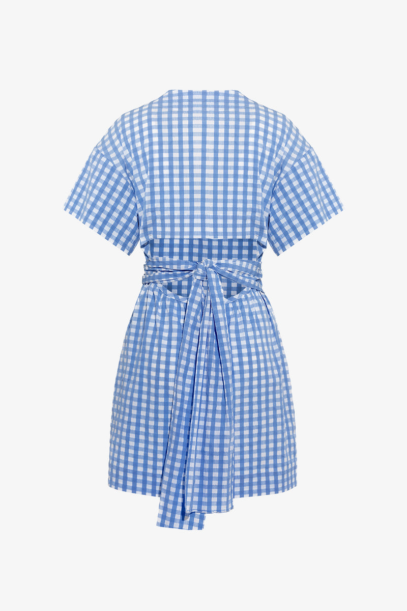 Flora Cut Out Detail Mini Dress in Blue Gingham