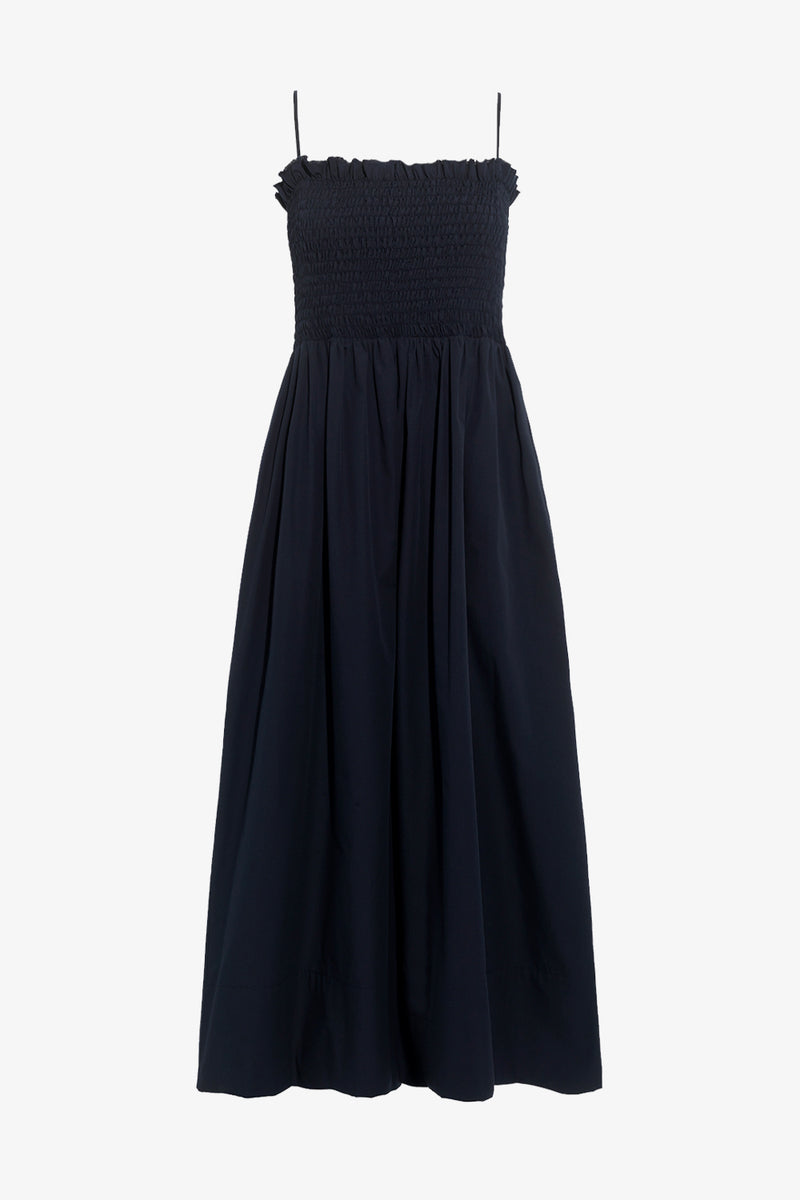 Lena Cotton Ankle Length Maxi Dress in Navy
