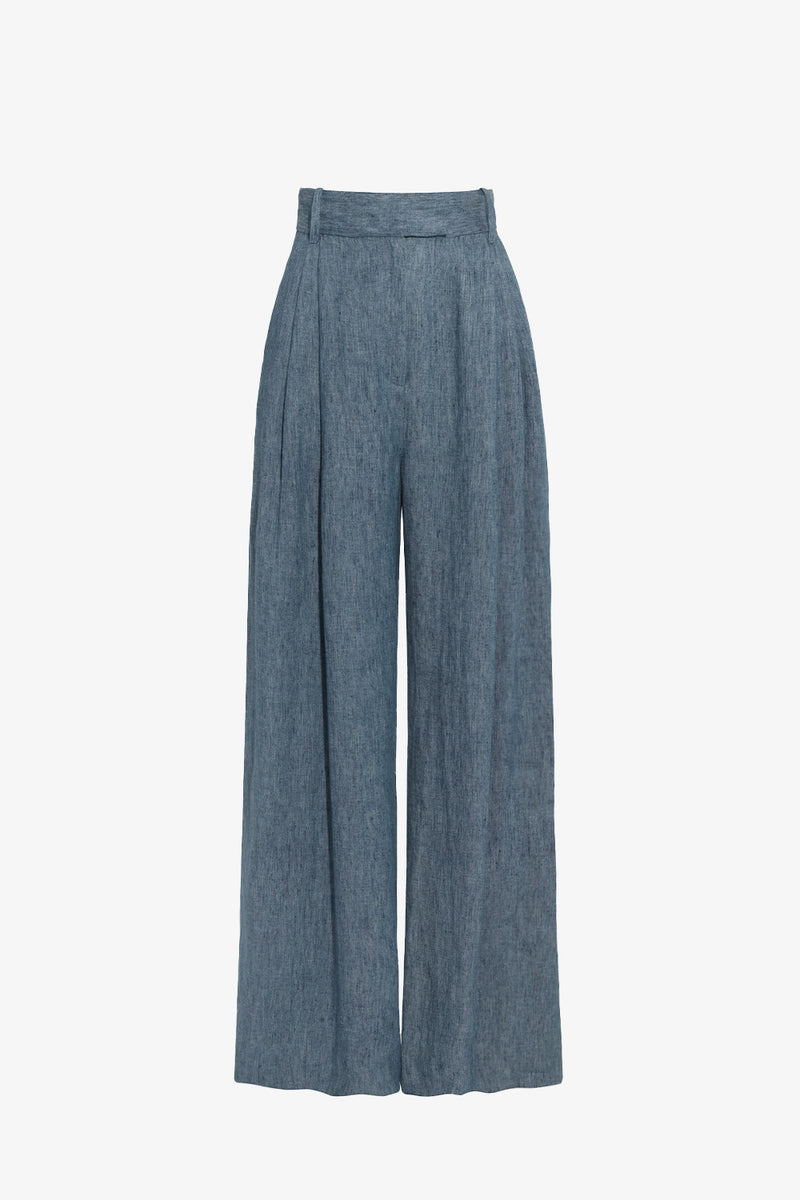 Molly Linen Wide Leg Trousers in Denim Blue