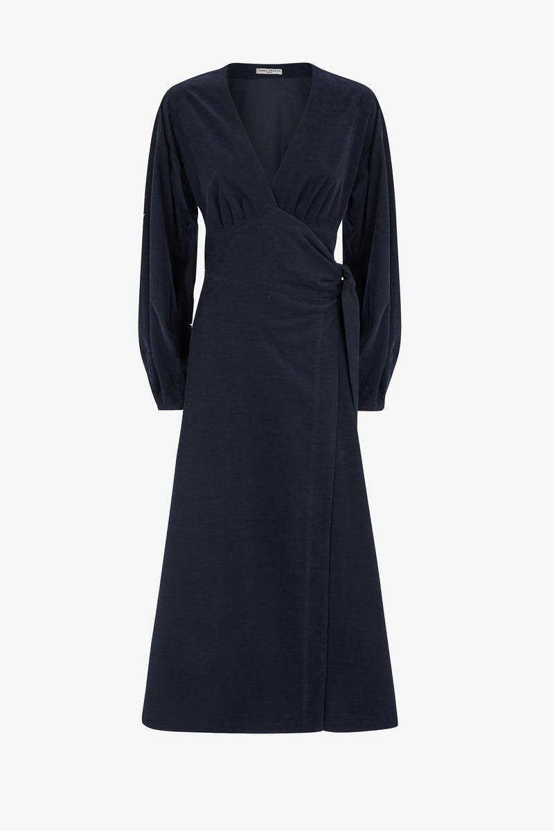 Nancy Needlecord Wrap-Tie Midi Dress in Midnight Blue