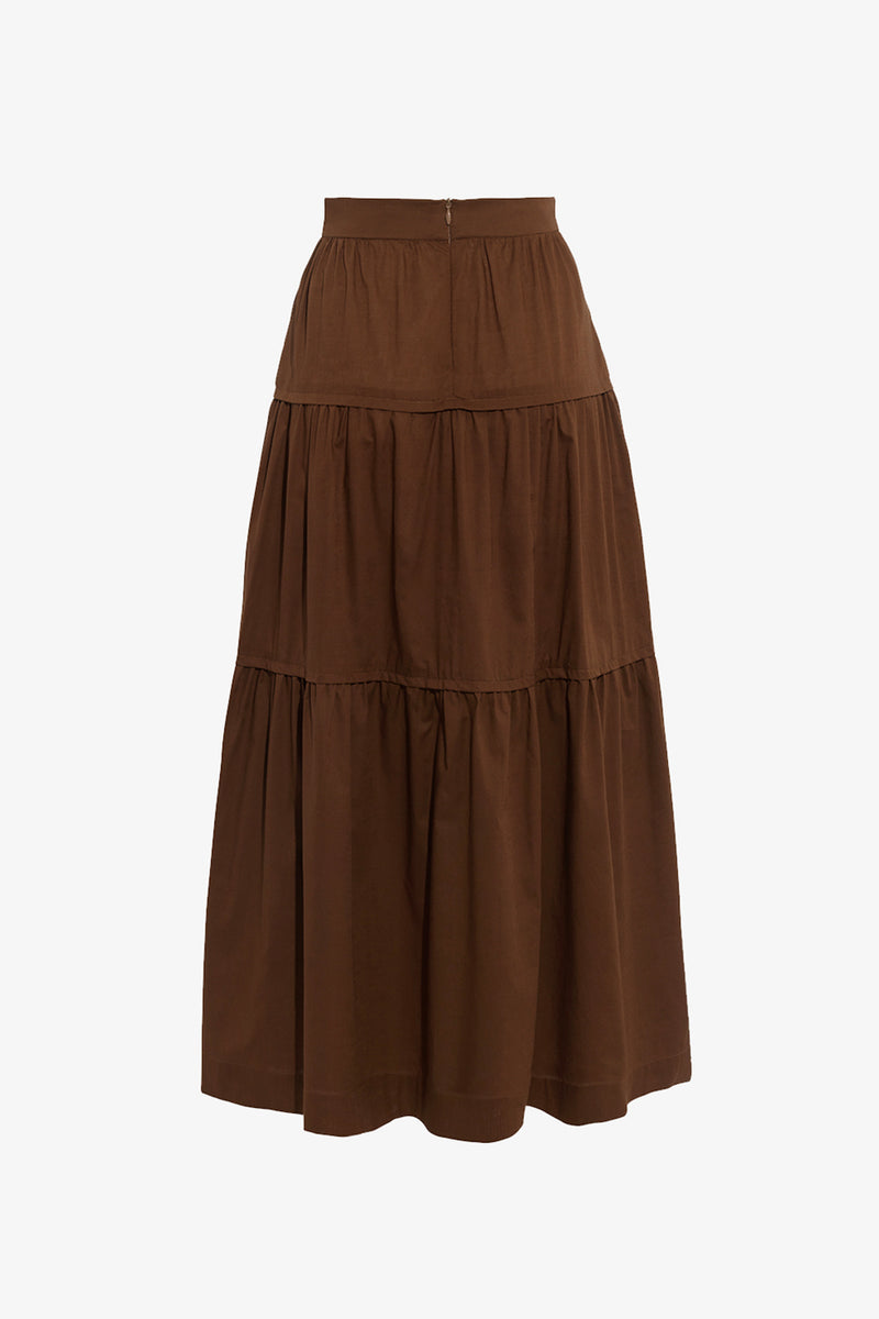Omisha Cotton Midi Length Skirt in Walnut