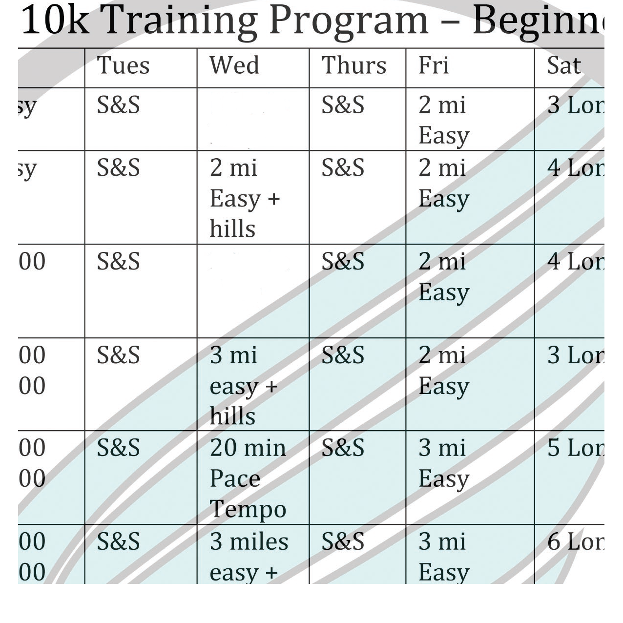 Training Plan: 10K Beginner I (plan only)