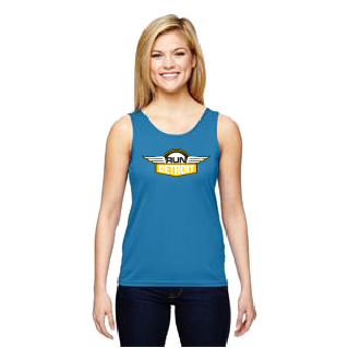 Blue wicking sleeveless tank top imprinted with RUNdetroit logo on chest.