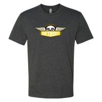 Heathered Gray short sleeve cotton polyester shirt imprinted with RUNdetroit logo on chest.