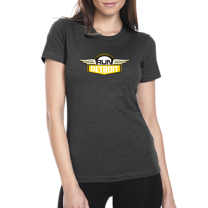 Women's Gray short sleeve soft cotton tee shirt with RUNdetroit logo
