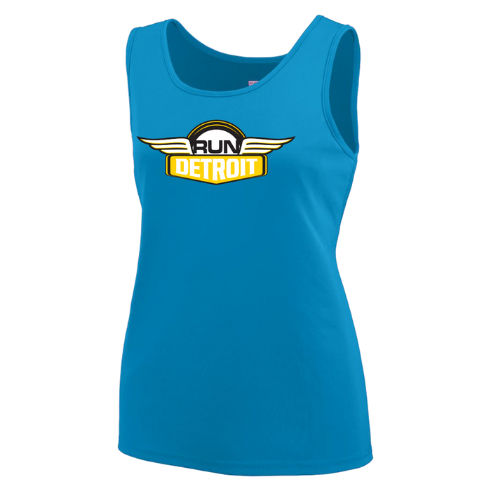 Turquoise blue technical fabric sleeveless tank top printed with RUNdetroit logo on chest.