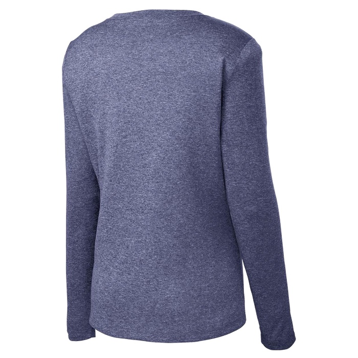 Back view of Women's Long Sleeve RUNdetroit shirt