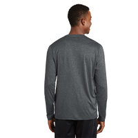 Back view of RUNdetroit Men's Technical Long Sleeve Shirt