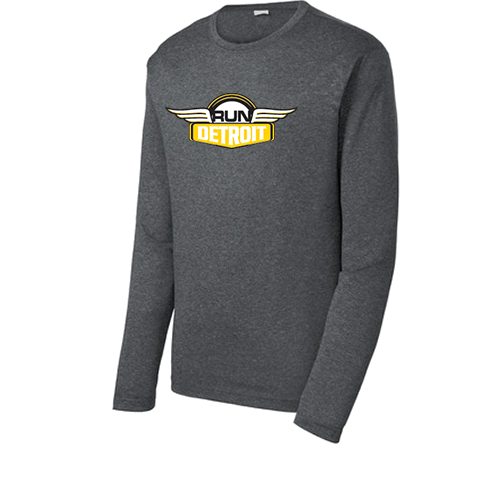 Heathered Gray long sleeve technical fabric shirt with RUNdetroit logo on chest.