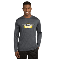 Heathered Gray long sleeve wicking shirt with RUNdetroit logo on chest.