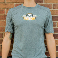 Heathered Gray short sleeve RUNdetroit technical fabric wicking shirt
