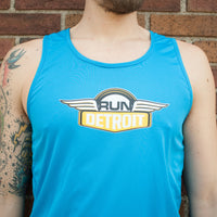 Blue wicking athletic singlet tank top with RUNdetroit logo on chest