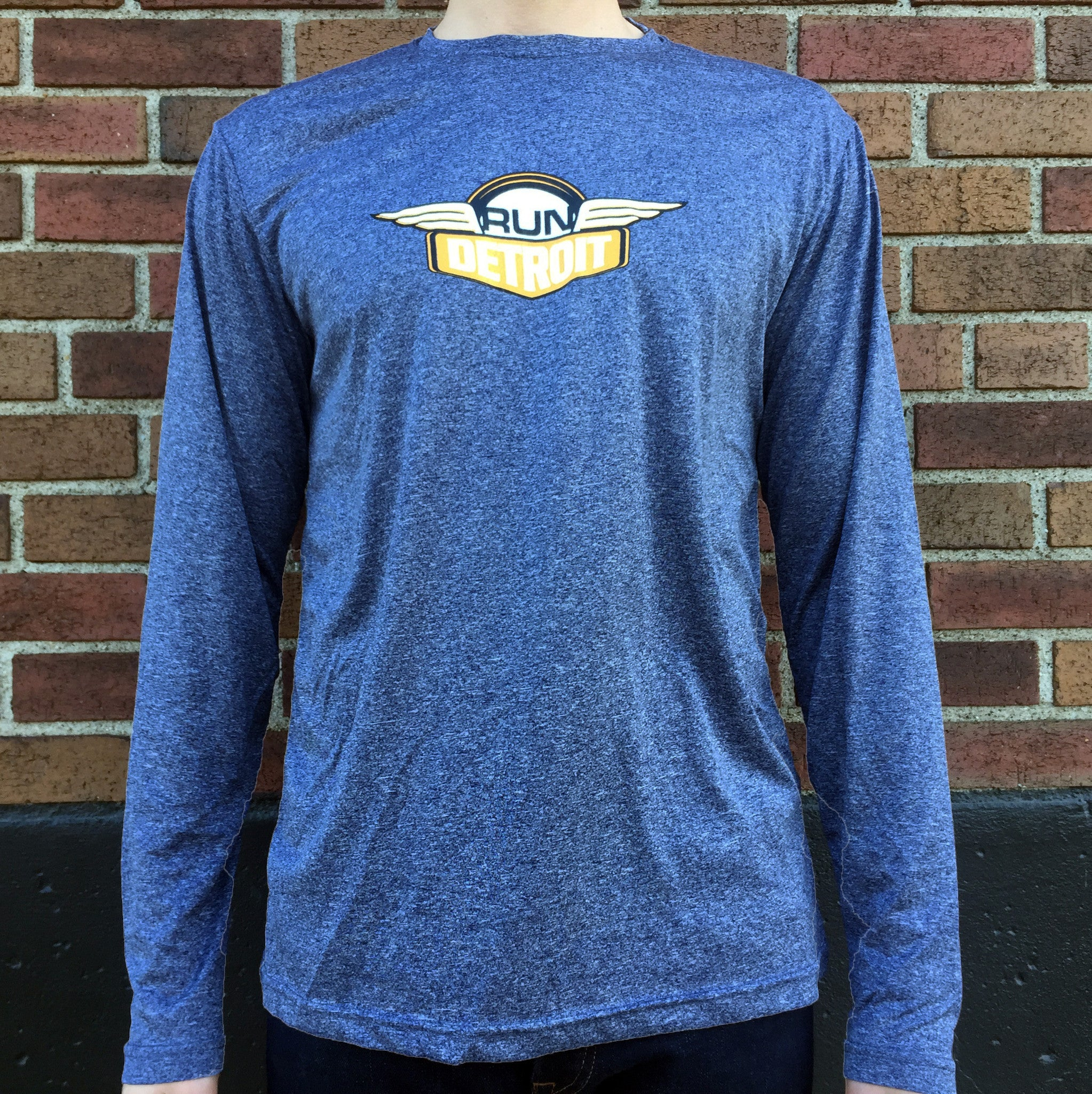 Heathered Navy Men's long sleeve technical wicking fabric shirt with RUNdetroit logo