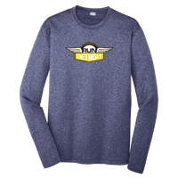 Heathered Navy long sleeve technical fabric shirt with RUNdetroit logo on chest.