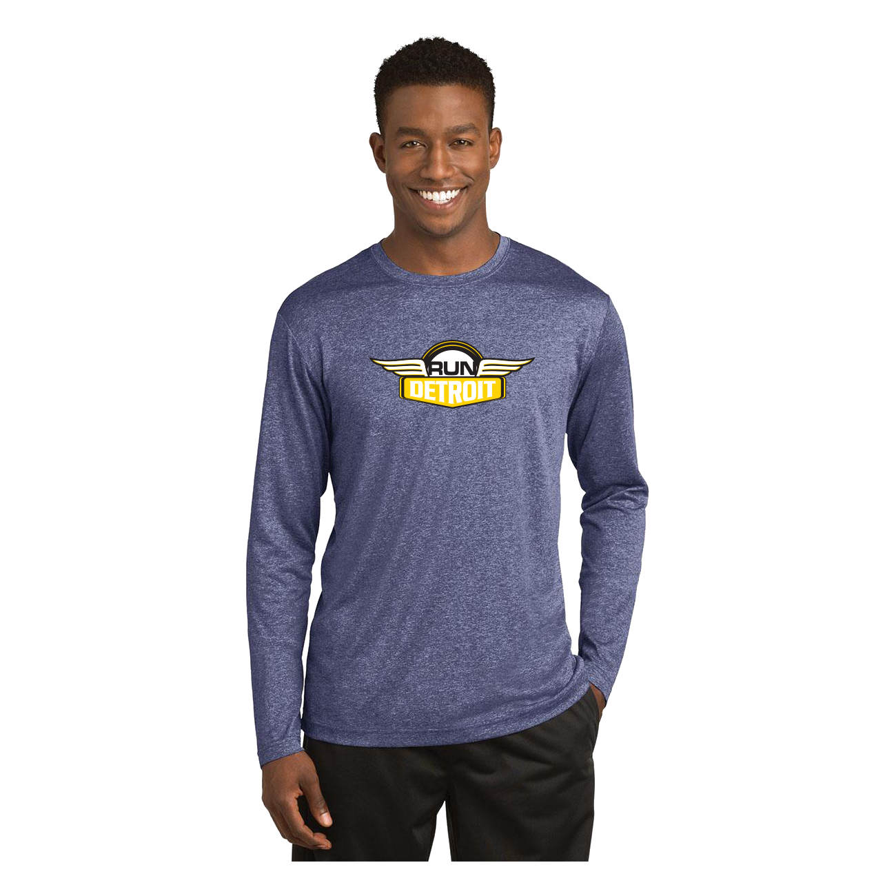 Heathered Navy long sleeve wicking shirt with RUNdetroit logo on chest.