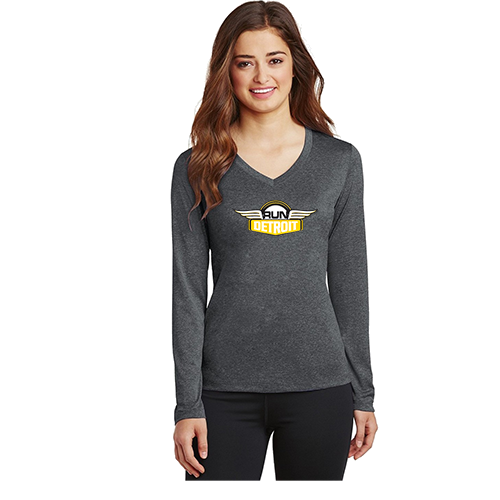 Women's long sleeve wicking shirt with RUNdetroit logo on chest