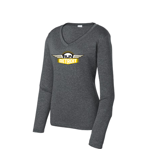Women's long sleeve technical fabric shirt with RUNdetroit logo on chest