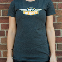 Women's Gray short sleeve cotton t-shirt with RUNdetroit logo