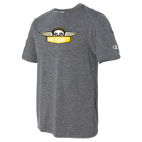 Heathered Gray short sleeve wicking shirt with RUNdetroit logo on chest