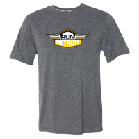 Men's Heathered Gray short sleeve technical fabric shirt printed with RUNdetroit logo