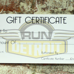 RUNdetroit Gift Certificate