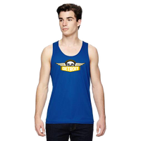 Blue wicking athletic singlet tank with RUNdetroit logo on chest