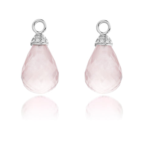Pampilles quartz rose et diamants.