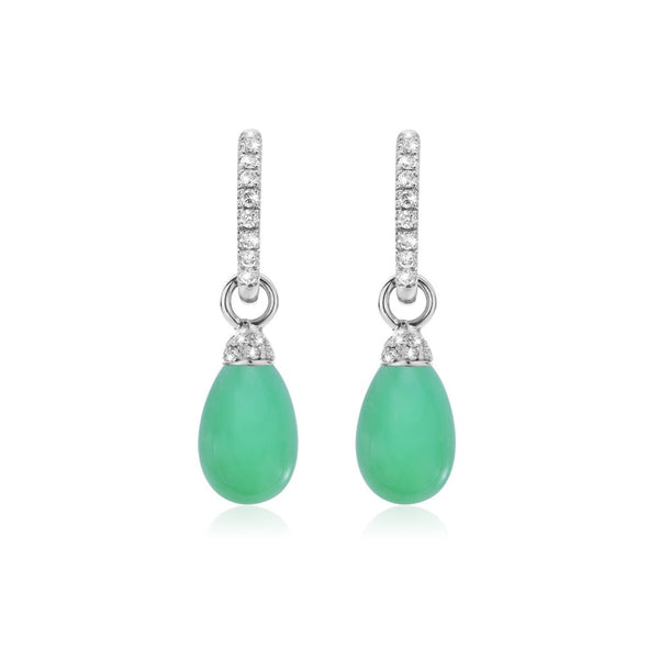 Créoles or blanc, diamants et chrysoprase.