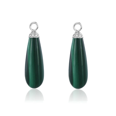 Pampilles malachite et diamants.