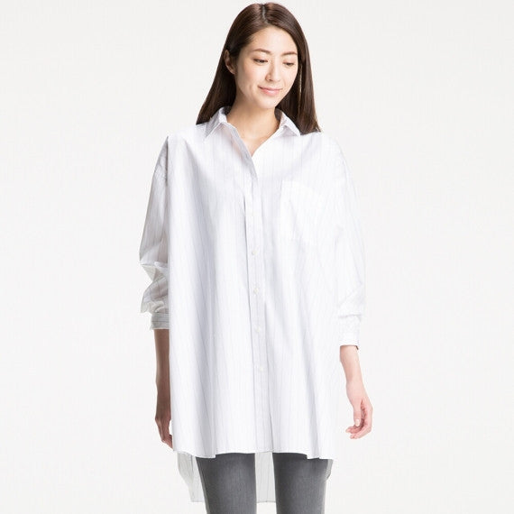 WOMEN Extra Fine Cotton Oversized Long Sleeve Long Shirt