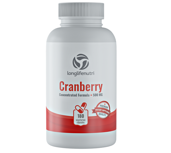 Cranberry 25,000 mg with Vitamin C & E - 180 Vegetarian Capsules - LongLifeNutri
