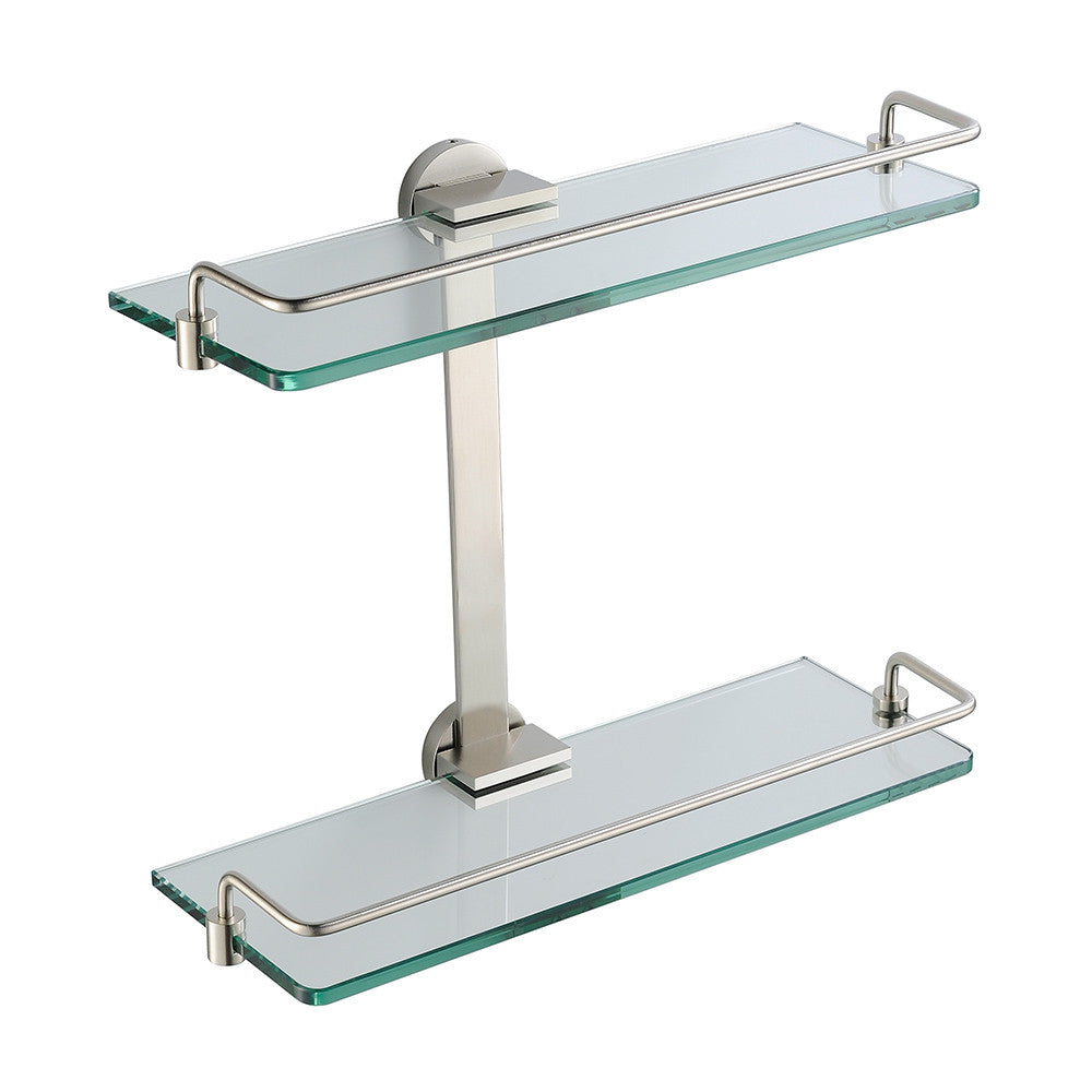 Fresca Tier Bathroom Glass Shelf Brushed Nickel Euro