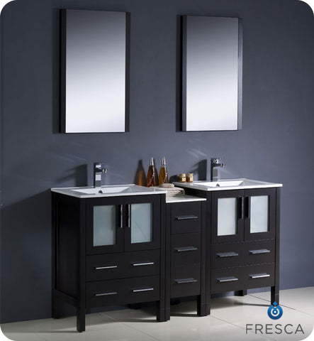 "Fresca Torino 60"" Espresso Modern Double Sink Bathroom Vanity w/ Side Cabinet & Integrated Sinks FVN62-241224ES-UNS"