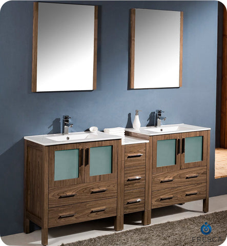 "Fresca Torino 72"" Walnut Brown Modern Double Sink Bathroom Vanity w/ Side Cabinet & Integrated Sinks FVN62-301230WB-UNS"