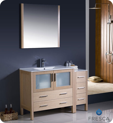 "Fresca Torino 48"" Light Oak Modern Bathroom Vanity w/ Side Cabinet & Integrated Sink FVN62-3612LO-UNS"