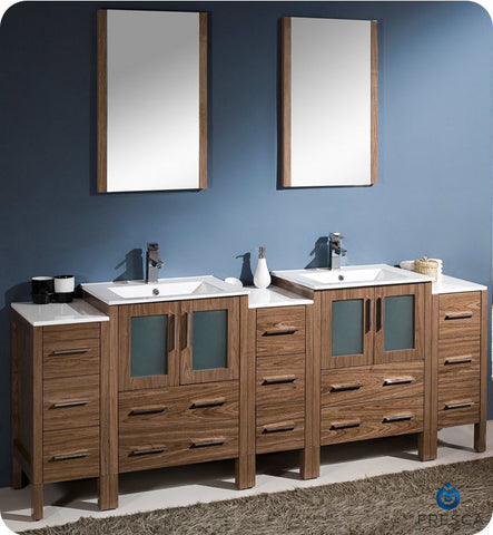 "Fresca Torino 84"" Walnut Brown Modern Double Sink Bathroom Vanity w/ 3 Side Cabinets & Integrated Sinks FVN62-72WB-UNS"