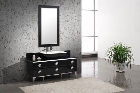 "Fresca Moselle 59"" Modern Glass Bathroom Vanity with Mirror FVN7716BL"