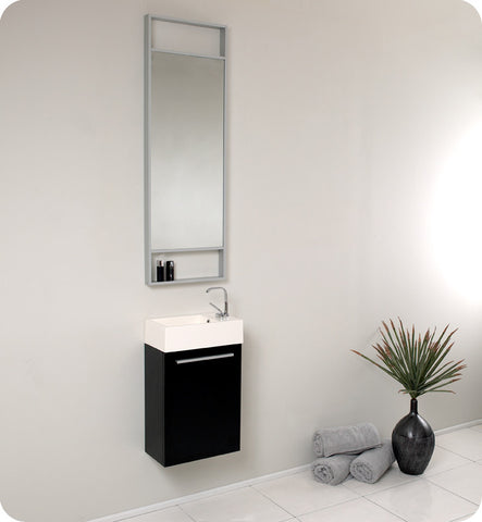 "Fresca Pulito 16"" Small Black Modern Bathroom Vanity with Tall Mirror FVN8002BW"