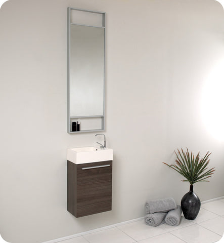 "Fresca Pulito 16"" Small Gray Oak Modern Bathroom Vanity with Tall Mirror FVN8002GO"