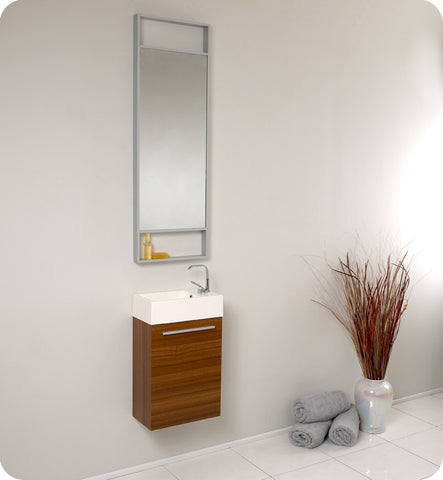 "Fresca Pulito 16"" Small Teak Modern Bathroom Vanity with Tall Mirror FVN8002TK"