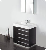 "Fresca Livello 30"" Black Modern Bathroom Vanity with Medicine Cabinet FVN8030BW"