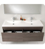 "Fresca Largo 57"" Gray Oak Modern Bathroom Vanity with Wavy Double Sinks FVN8040GO"