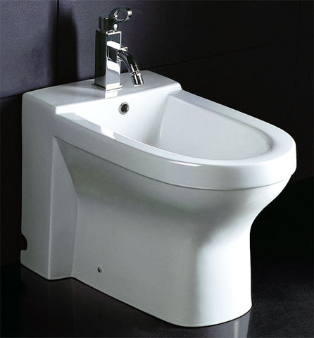 EAGO White Ceramic Bathroom Bidet with Elongated Seat JA1010