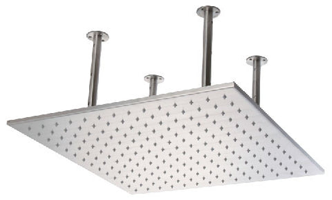 "ALFI 20"" Square  Brushed Solid Stainless Steel Multi Color LED Rain Shower Head LED5014-BSS"
