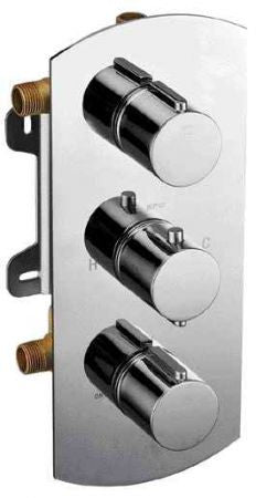 ALFI Brushed Nickel 3-Way Thermostatic Valve Shower Mixer Round AB4001-BN