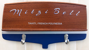 Boat Transom wall decor (classic with Mahogany Trim and Hook Options) Signs