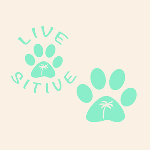 Paws on the Water Palm Tree Dog Paw decal Decals